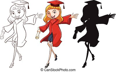 A girl graduating in three different colours on a white...