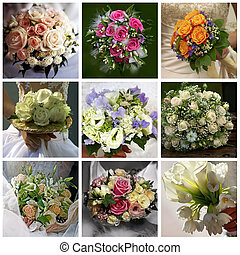 Collage of nine wedding photos with bouquets