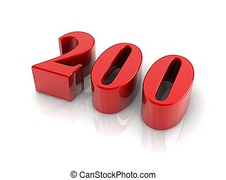 number 200 - red reflective number 200 on white background.