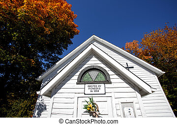 Old Country Church in Autumn Ontario Canada Bracebridge