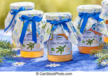 Bottles with pine and lemon jelly