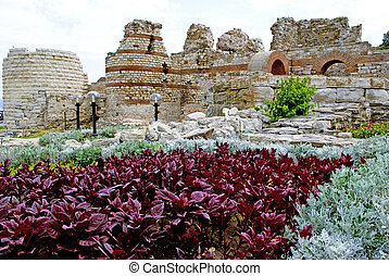 Nesebar - castle ruins in old Nesebar Bulgaria
