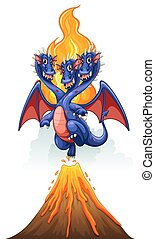 Dragons and volcano - Dragon coming out of a volcano