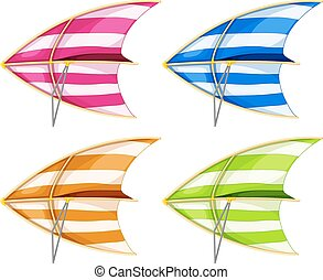 Hang glider - Set of 4 colorful hang gliders