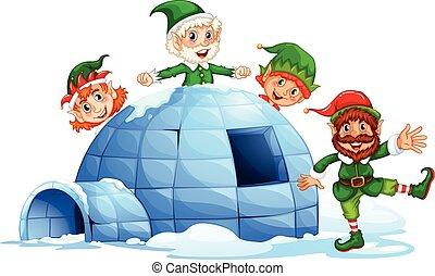 Igloo and elves - Christmas elves and an igloo