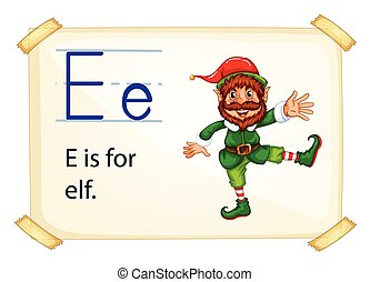 Alphabet letter E - Literacy card showing the letter E with...
