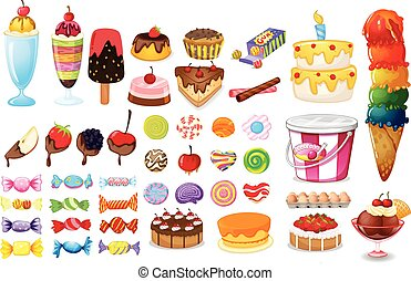 Dessert collection - Dessert and sweet food set on white