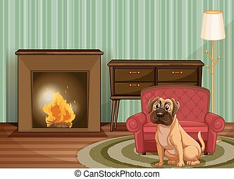 Dog inside - Dog sitting by fire inside