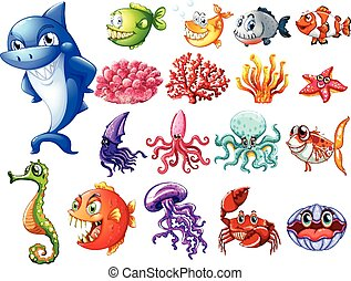 Ocean creatures set - Shark and sea creatures collection