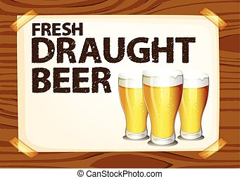 Draught beer - Fresh draught beer poster on wood