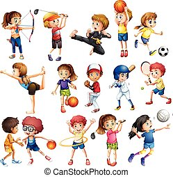 Kids playing sport - Kids playing various sports on white