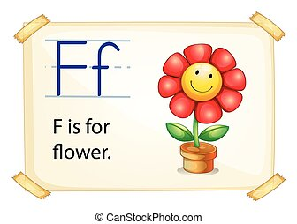Alphabet letter F - Literacy card showing the letter F