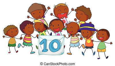 Number 10 with children on white