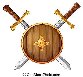 Swords and shield - Swords with wooden shield on white