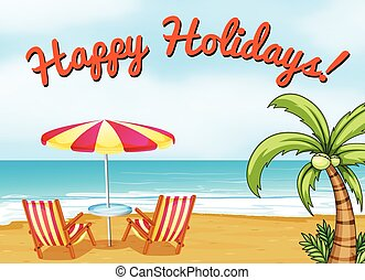 Happy Holidays - Happy holidays beach scene with text