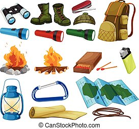 Camping set - Camping objects and equipment on white