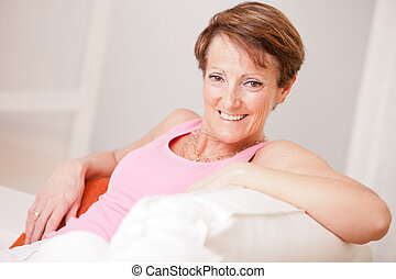 mature fresh woman self-confident and happy - an old woman...
