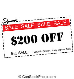$200 Off Big Sale Coupon - $200 Off Big Sale Red and White...