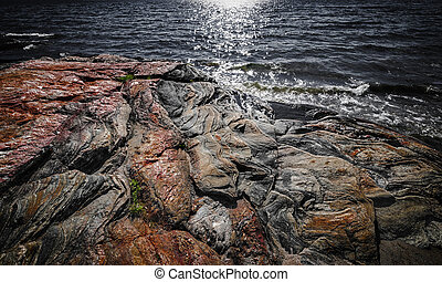 Rock formations at Georgian Bay - Exposed bedrock and...