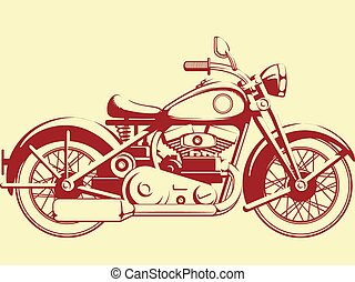 Silhouette of Old Motorcycle - A vector image of old...