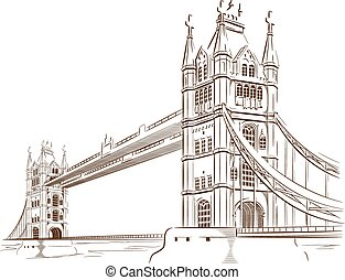 Sketch of London Bridge - A vector image of an architectural...