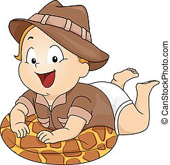 Baby Safari Costume - Illustration Featuring a Baby Wearing...