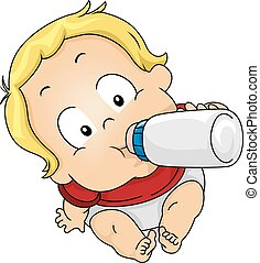 Boy Drinking Milk - Illustration Featuring a Baby Drinking...