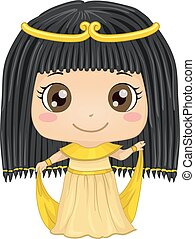 Egyptian Girl - Illustration Featuring a Girl Wearing an...