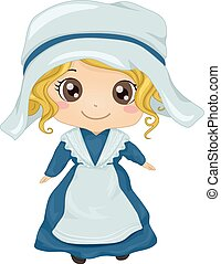 French Girl Costume - Illustration Featuring a Girl Wearing...