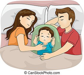 Cosleeping - Illustration Featuring a Family Sleeping...