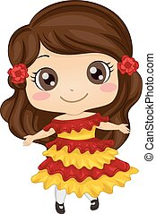 Mexican Girl - Illustration Featuring a Girl Wearing a...