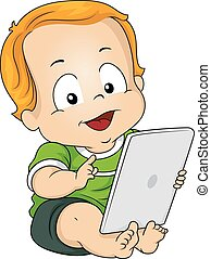 Baby Tablet - Illustration Featuring a Baby Boy Using a...