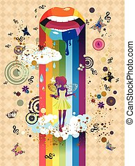 Surreal Fairy - Paint dripping lips, surreal fairy...