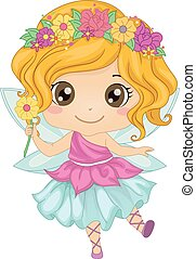 Fairy Girl - Illustration Featuring a Girl Wearing a Fairy...