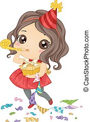 Birthday Girl - Illustration Featuring a Birthday Girl Using...