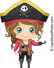 Pirate Costume - Illustration Featuring a Girl Wearing a...