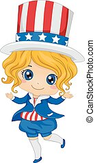 Fourth of July Costume - Illustration Featuring a Girl...