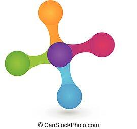 Logo hi-tech icon vector - Logo technology molecule and...