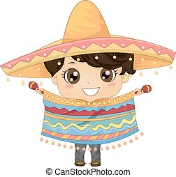 Mexican Boy - Illustration Featuring a Boy Wearing a Mexican...