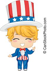 Fourth of July Costume - Illustration Featuring a Boy...