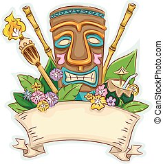 Tiki Banner - Banner Illustration Featuring a Tiki...