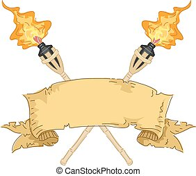Tiki Torch Banner - Banner Illustration Featuring a Strip of...