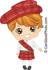 Scottish Boy - Illustration Featuring a Boy Wearing a...