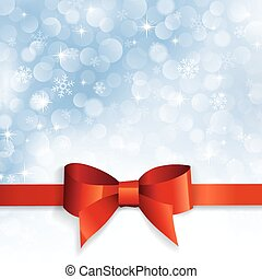 red bow on a background snowflakes