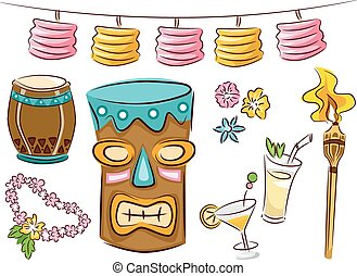 Tiki Party Elements - Illustration Featuring Items Commonly...