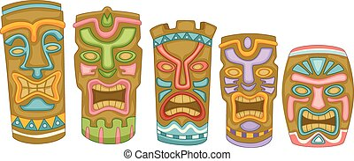 Tiki Masks - Illustration Featuring Colorful Tiki Masks