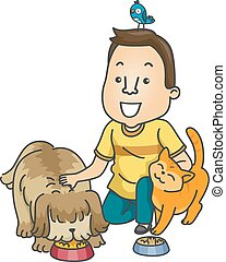 Pet Sitter - Illustration Featuring a Man Working as a Pet...