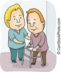 Caregiver - Illustration Featuring a Caregiving Assisting an...