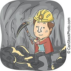 Coal Miner - Illustration Featuring a Man Mining Coal