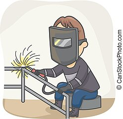 Welder - Illustration Featuring a Welder at Work